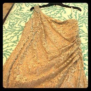 Silver Calvin Klein one shoulder dress